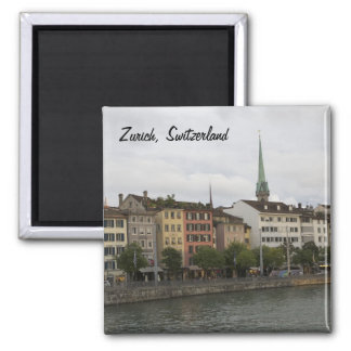 Städtisches Stadt-Ansicht-Foto Zürichs die Schweiz Quadratischer Magnet