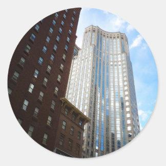 Stadtmitte-Wolkenkratzer-Reflexion, New York City Runde Aufkleber