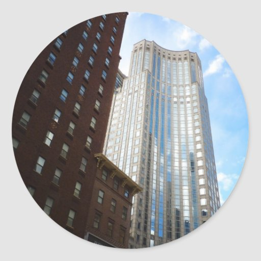Stadtmitte-Wolkenkratzer-Reflexion, New York City Aufkleber