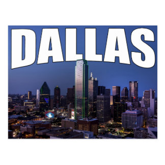 StadtSkyline Dallas Texas in der Abends-Postkarte Postkarte