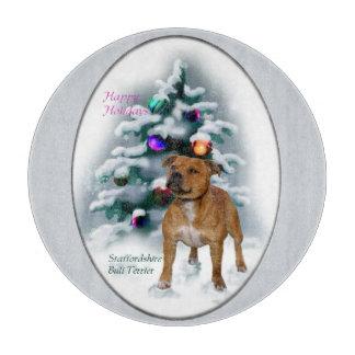 Staffordshire-Bullterrier-Weihnachten Schneidebrett