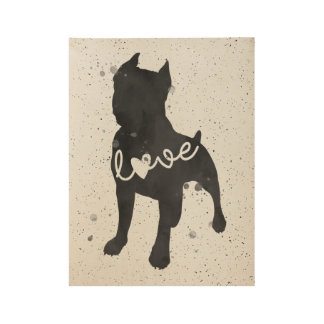 Staffordshire-Terrier-Liebewatercolor-Silhouette Holzposter