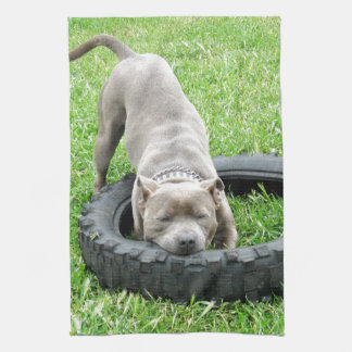 Staffy_Playing_With_Tyre_High_Quality_Dish_Towel. Handtuch
