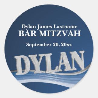Stahlblau-Name Dylan Runder Aufkleber