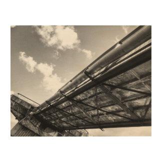 Stahlbrücken-Schwarzweißfotografie-Holz-Kunst Holzleinwand
