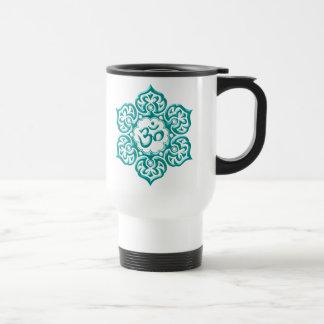 Stahllotos-Blume OM entwerfen - Blau Reisebecher
