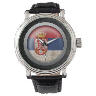 Stahlmascheserbian-Flaggen-Disc-Grafik Armbanduhr