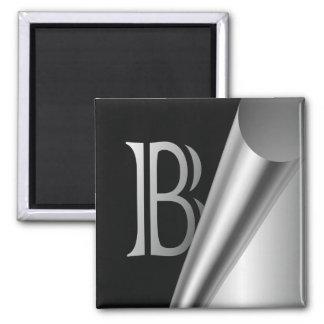 """Stahlschalen-Monogramm """"B """" Quadratischer Magnet"""