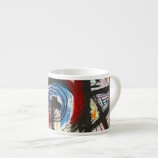 Stakkato-Hand gemalte abstrakte KunstBrushstrokes Espressotasse
