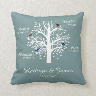 Stammbaum, weißer Baum auf Blau mit Namen u. Daten Kissen