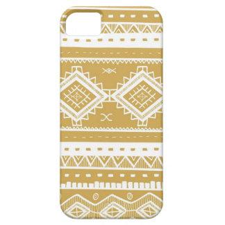 Stammes- aztekisches Spitze-Muster (Gold) iPhone 5 Case