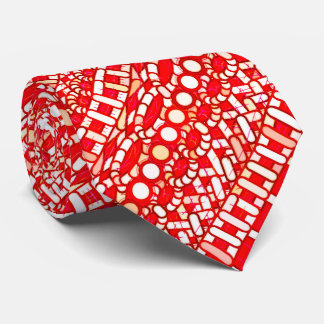 Stammes- Batik - tiefrot, kastanienbraun und Weiß Bedruckte Krawatten