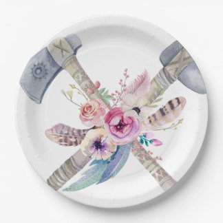 Stammes- Boho Chic versieht Pfeil-Blumen-Platte Pappteller