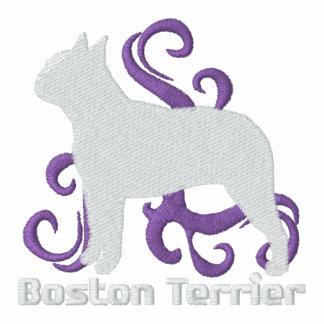 Stammes- Boston Terrier Bestickter Damen Reißverschluss Hoodie