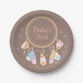 Stammes- Dreamcatcher Boho Baby-zuerst 1. Pappteller