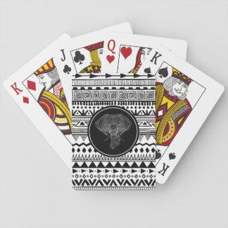 Stammes- Elefant-aztekisches Muster-Schwarz-weißes Spielkarten