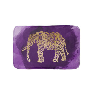 Stammes- Elefant der Imitatgoldfolie lila Badematten