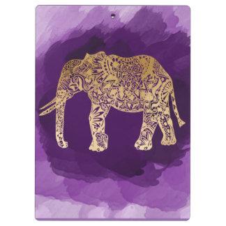 Stammes- Elefant der Imitatgoldfolie lila Klemmbrett
