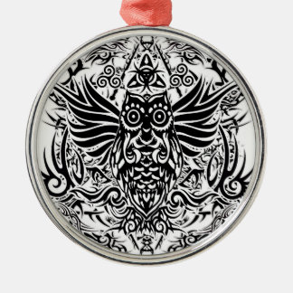Stammes- Eule der Tätowierung Silbernes Ornament