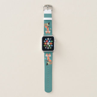 Stammes- Fox mit Feder auf aquamarinem Apple Watch Armband