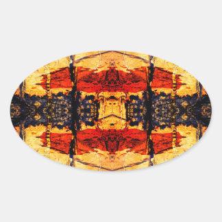 Stammes- Fusion Ovaler Aufkleber