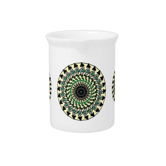 Stammes- Gelbgrün-Schwarz-Mandela-Entwurfs-Krug Krug
