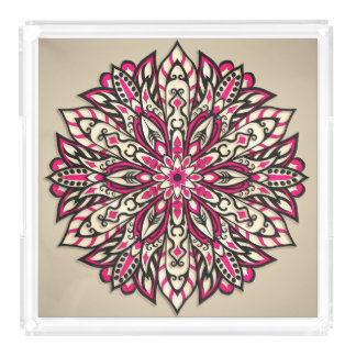 Stammes- geometrische rosa Mandala Acryl Tablett