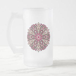 Stammes- geometrische rosa Mandala Mattglas Bierglas