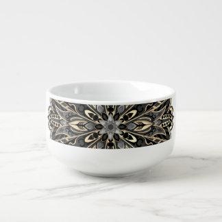 Stammes- geometrische schwarze und braune Mandala Große Suppentasse