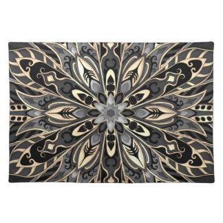Stammes- geometrische schwarze und braune Mandala Stofftischset