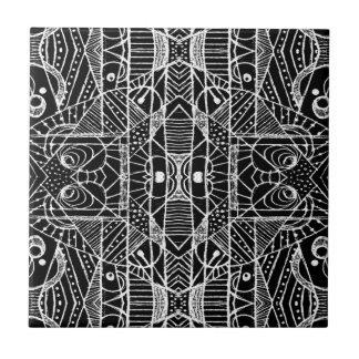 Stammes- geometrischer Muster-Schwarzweiss-Druck Keramikfliese