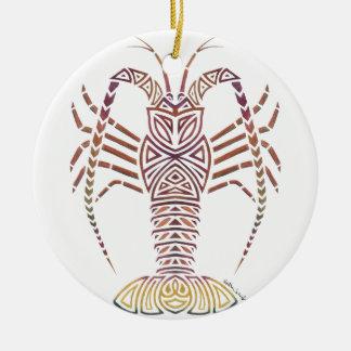 Stammes- karibischer Hummer Rundes Keramik Ornament