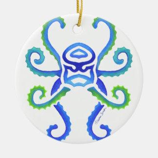Stammes- Krake Rundes Keramik Ornament