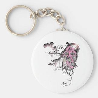 Stammes- Kreuz des rosa Bandes Standard Runder Schlüsselanhänger