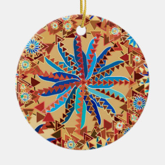 Stammes- Mandala-Druck, Kamel TAN und Denim-Blau Keramik Ornament
