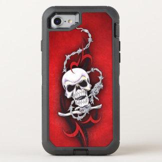 Stammes- Schädel-Stacheldraht-rote OtterBox Defender iPhone 8/7 Hülle