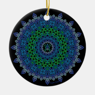 Stammes- Schildkröte-Mandala auf Schwarzem Keramik Ornament