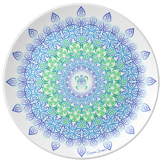 Stammes- Schildkröte-Mandala Porzellanteller