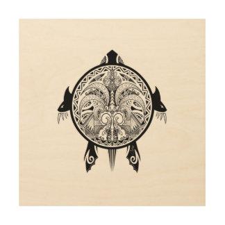 Stammes- Schildkröte-Schild-Tätowierung Holzleinwand