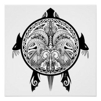 Stammes- Schildkröte-Schild-Tätowierung Poster