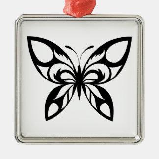 Stammes--Schmetterling-Silhouette Silbernes Ornament