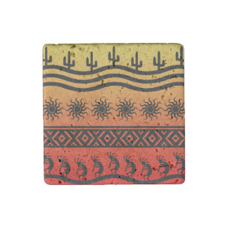 Stammes- Sun-Kaktus Kokopelli Entwurf Steinmagnet