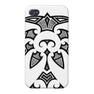 Stammes- Tätowierung Mauri mit koru Mustern iPhone 4 Etuis