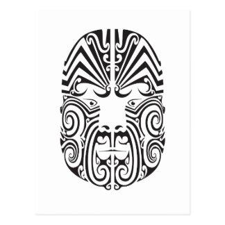 Stammes- Tätowierungs-Gesicht Postkarte