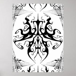 Stammes- Tätowierungs-surrealer Schmetterling Poster