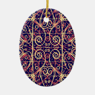 Stammes- verziertes Muster Ovales Keramik Ornament