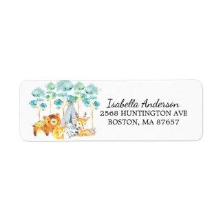 Stammes- Waldtier-Babyparty-Adressen-Etikett