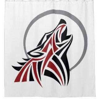 Stammes- Wolf, der roten schwarzen grauen Mond Duschvorhang