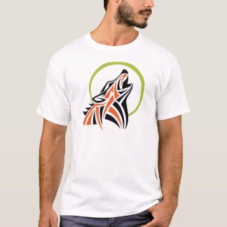 Stammes- Wolf-rotes schwarzes Heulenmond-T-Shirt T-Shirt