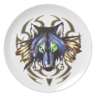 Stammes- Wolftätowierungsentwurf Melaminteller